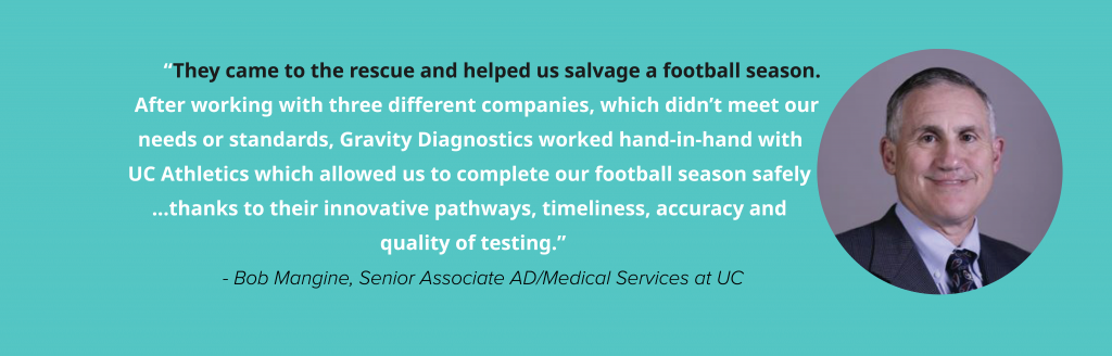"""""""They came to the rescue and helped us salvage a football season. After working with three different companies, which didn't meet our needs or standards, Gravity Diagnostics worked hand-in-hand with UC Athletics which allowed us to complete our football season safely …thanks to their innovative pathways, timeliness, accuracy and quality of testing."""" - Bob Mangine, Senior Associate AD/Medical Services at UC"""
